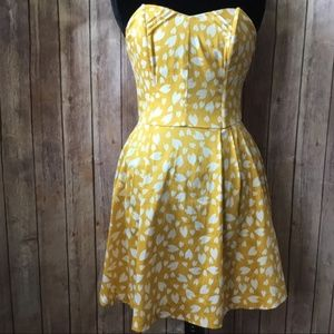 Strapless Heart Print Mustard Yellow Dress Sz M